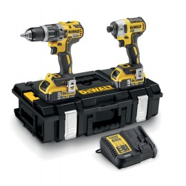 DEWALT DCK266P2 18vTwin pack 2 x 5.0Ah Li-ion batteries and charger DCD796 Brushless Combi drill DCF887 Brushless Impact driver Carry case