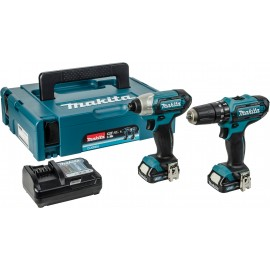 MAKITA CLX202AJ 10.8vTwin pack 2 x 2.0Ah Li-ion batteries and charger HP331D Combi drill TD110D Impact driver MakPac type 1 case