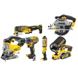 DEWALT DCK665P3T 18v6 pack 3 x 5.0Ah Li-ion batteries and charger DCD796 B/L Combi drill & DCL040 torch DCP580N Planer & DCS391 Circ saw DCS355N Multi tool & DCS331 jigsaw 2 x DWST1-71195 T-Stak cases