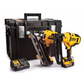 DEWALT DCK264P2 18vTwin pack 2 x 5.0Ah Li-ion batteries and charger DCN692 Brushless First fix nailer DCN660 Brushless Second fix nailer Tough system case