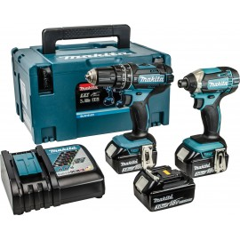 MAKITA DLX2131JX1 18vTwin pack 3 x 3.0Ah Li-ion batteries and charger DHP482 Combi drill DTD152 Impact driver MakPac type 3 case