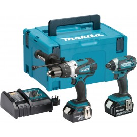MAKITA DLX2145TJ 18vTwin pack 2 x 5.0Ah Li-ion batteries and charger DHP458Z Combi drill DTD152Z Impact driver MakPac type 3 case
