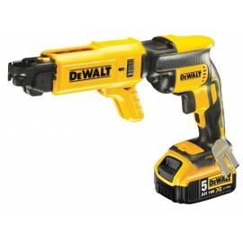 """DEWALT DCF620P2K 18vAutofeed screwdriver - 1/4"""" hex drive 2 x 5.0Ah Li-ion batteries and charger Max screw length: 55mm Brushless motor T-Stak DWST1-70703 case"""