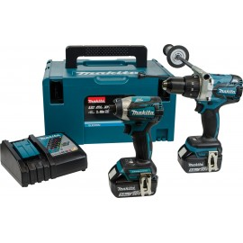MAKITA DLX2176TJ 18vTwin pack 2 x 5.0Ah Li-ion batteries and charger DHP481 Brushless Combi drill DTD154 Brushless Impact driver MakPac type 3 case