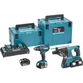 MAKITA DLX2137PMJ 18vTwin pack 4 x 4.0Ah Li-ion batteries and charger DHP482Z Combi drill DHR263ZJ SDS+ hammer drill MakPac case