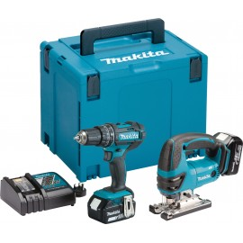 MAKITA DLX2134MJ 18vTwin pack 2 x 4.0Ah Li-ion batteries and charger DHP482Z Combi drill DJV180Z Jigsaw MakPac type 4 case