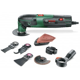 BOSCH GREEN PMF 220 CE SET 240vMulti function tool 220 Watt Variable speed Comes with 8 accessories Carry case