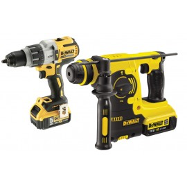 DEWALT DCK229P2T 18vTwin pack 2 x 5.0Ah Li-ion batteries and charger DCD996 Brushless Combi drill DCH273 Brushless SDS+ drill T-Stak case