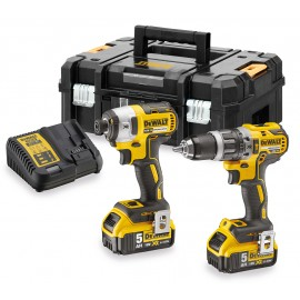 DEWALT DCK266P2T 18vTwin pack 2 x 5.0Ah Li-ion batteries and charger DCD796 Brushless Combi drill DCF887 Brushless Impact driver T-Stak case