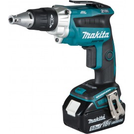 """MAKITA DFS250RTJ 18vDry wall screwdriver - 1/4"""" hex drive 2 x 5.0Ah Li-ion batteries and charger No load speed: 0 - 2500rpm MakPac type 2 case"""