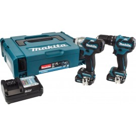 MAKITA CLX205AJ 12vTwin pack 2.0Ah Li-ion batteries and charger HP332 Brushless combi drill TD111D Brushless impact driver MakPac type 1 case