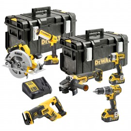 DEWALT DCK623P3 18v6 pack 3 x 5.0Ah Li-ion batteries and charger DCD796 Brushless Combi drill DCF887 Brushless Impact driver DCG405 B/L Grinder, DCS367 B/L Reciprocating saw DCS570 Brushless Circular saw, DCL050 Torch 2 x DWST1-71195 T-Stak cases