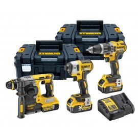 DEWALT DCK368P3T 18vTriple pack 3 x 5.0Ah Li-ion batteries and charger DCD796 Brushless Combi drill DCF887 Brushless Impact driver DCH273 Brushless SDS+ drill 2 x DWST1-71195 T-Stak cases