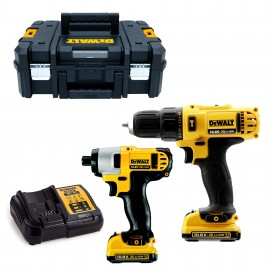DEWALT DCK218D2T 12vTwin pack 2 x 2.0Ah Li-ion batteries and charger DCD716 Combi drill DCF815 Impact driver T-Stak case
