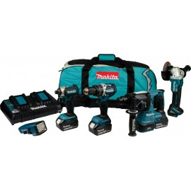 MAKITA DLX5042PT 18v5 pack 3 x 5.0Ah Li-ion batteries and charger DHP484 Combi drill DTD153 Impact driver DGA456 Angle grinder DHR242 SDS+ drill & DML186 torch LXT600 Carry bag