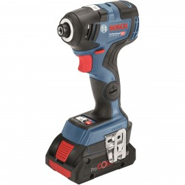 """BOSCH GDR 18 V-200 C (5Ah) 18vImpact driver - 1/4"""" hex drive 2 x 5.0Ah Li-ion batteries and charger 3 - speed / variable / reversing Max torque: 200Nm Brushless motor L-Boxx 136 case"""
