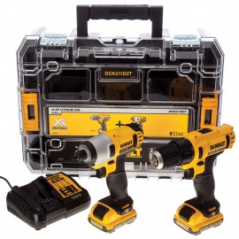 DEWALT DCK211D2T 12vTwin pack 2 x 2.0Ah Li-ion batteries and charger DCD710 Drill driver DCF815 Impact driver Carry case