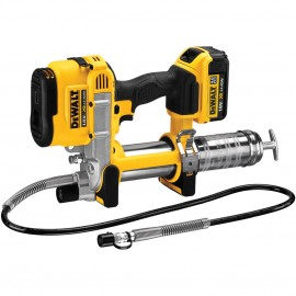 DEWALT DCGG571M1 18vGrease gun 1 x 4.0Ah Li-ion battery and charger Pressure: 590 Bar / 10000 Psi 1 metre hose Accepts clear grease tubes Adjustable LED light Carry case
