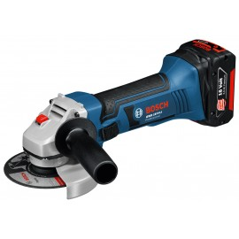 "BOSCH GWS 18 V-LI 18vAngle grinder - 4.1/2"" (115mm) 2 x 5.0Ah Li-ion batteries and charger Single speed Side handle L-Boxx 136 case"