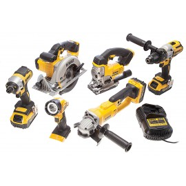 DEWALT DCK694P3 18v6 pack 3 x 5.0Ah Li-ion batteries and charger DCD995 B/L Combi drill DCF886 B/L Impact driver DCS391 Circ saw, DCS331 jigsaw DCG412 Angle grinder, DCL040 torch 2 x DWST1-71195 T-Stak cases