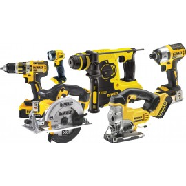 DEWALT DCK699M3T 18v6 pack 3 x 4.0Ah Li-ion batteries and charger DCD795 Brushless combi drill DCF886 Brushless impact driver DCH253 SDS+ drill & DCS331 jigsaw DCS391 Circ saw & DCL040 torch 2 x DWST1-71195 T-Stak cases