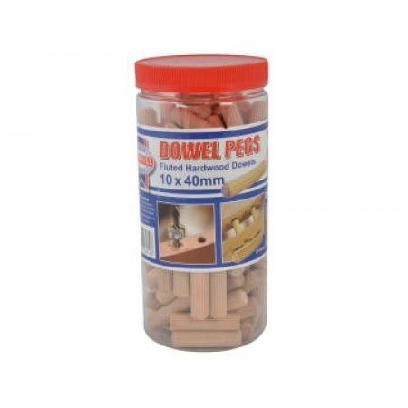 Faithfull DOW10100T Wood Dowels Fluted 40 x 10mm (Tub 100)