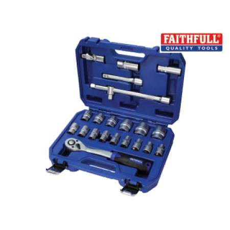 Faithfull SOC1222MN Socket Set of 22 Metric 1/2in Drive