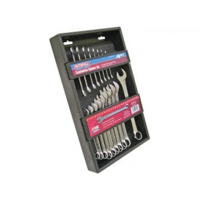 Faithfull SPASETC18 Chrome Vanadium Combination Spanner Set, 18 Piece