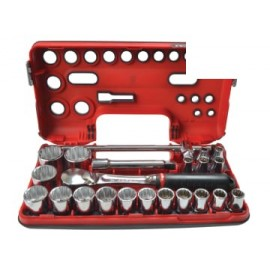 Facom SLDBOX412 1/2in Drive 12-Point Detection Box Socket Set, 22 Piece Metric